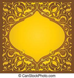 floral, islámico, versión, arte, oro
