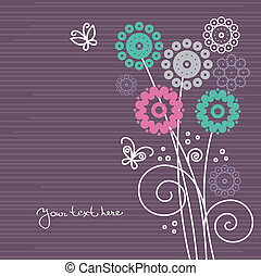 floral, mariposas, caricatura, plano de fondo
