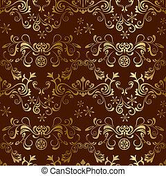 floral, marrón, seamless, patrón