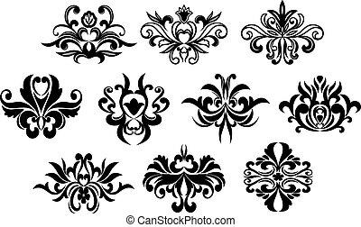 floral, negro, elementos, diseño, rizado