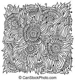 floral, ornamental, vector, plano de fondo, doodles