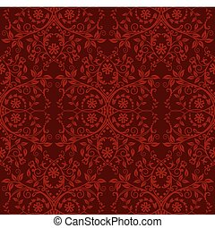 floral, papel pintado, seamless, rojo