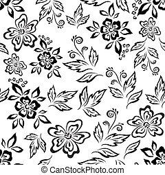 floral, plano de fondo, seamless, contorno