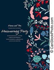 floral, plantilla, invitación, partido inauguración