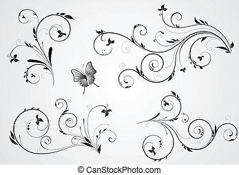 floral, remolino, diseños, conjunto
