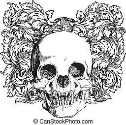 floral, vampiro, ilustración, cráneo