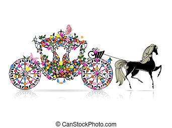 floral, vendimia, carruaje