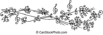 floral, viñeta, musical, cccii