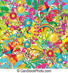 floral, vibrante, verano, patrón