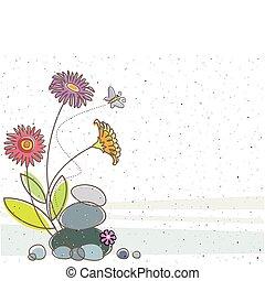 Floral y mariposa
