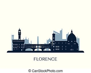 Florence skyline, monocroma silueta.