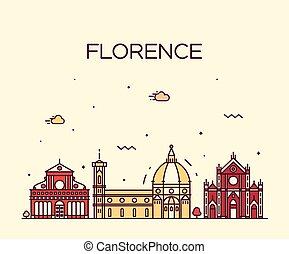 Florence skyline silueta vector linear estilo
