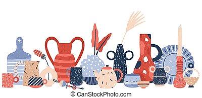 floreros, blanco, candeleros, arte, porcelana, studio., vector, alfarería, aislado, plano de fondo, mano, decoración, producto, moderno, illustration., loza, cerámico, hechaa mano, dibujado, handcraft