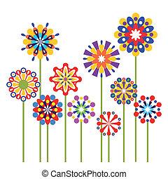 Flores abstractas coloridas de vector