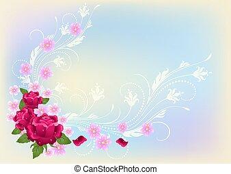 Flores adornadas con rosas