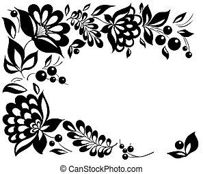 Flores blancas y negras y hojas. Un elemento de diseño floral al estilo retro