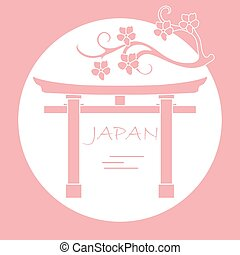 flores, cereza, gates., rama, ritual, torii