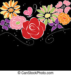 Flores coloridas de primavera en un fondo negro