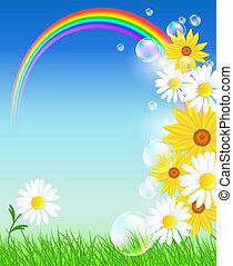 Flores con hierba verde y arco iris