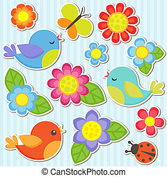 flores, conjunto, aves