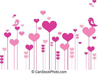 flores, corazón, aves