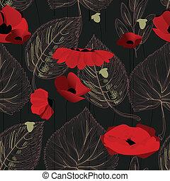 Flores de amapola y hojas sin marcas sobre el negro
