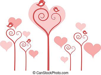 Flores de corazón con pájaros, vector