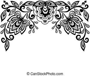 Flores de encaje blanco y negro