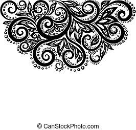 Flores de encaje blanco y negro y hojas aisladas en blanco. Un elemento de diseño floral al estilo retro.