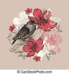 Flores de fondo con aves, mariposas y manzanos florecientes.