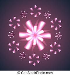 Flores de fuegos artificiales y copos de nieve.