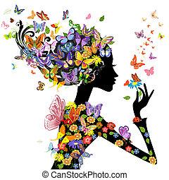 Flores de moda con mariposas