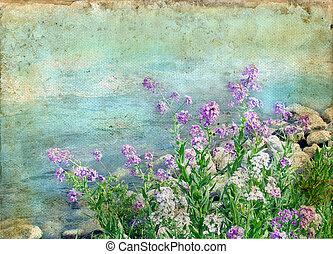 Flores de primavera en un fondo grunge