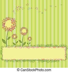 Flores de primavera rayas amarillas verdes