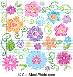 Flores dibujadas de un vector de garabatos