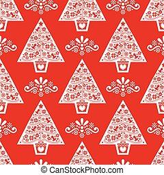 flores, diseño, gente, copos de nieve, estilo, navidad, escandinavo, árbol, aves, pattern-, seamless, vector, arte