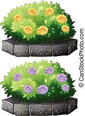 Flores en el arbusto