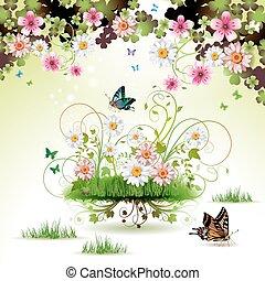 Flores en la hierba