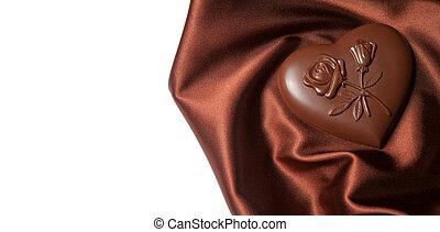 flores, formado, marrón, corazón, silk., patrón, chocolates