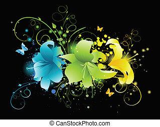 Flores multicolores de fondo negro