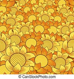 Flores naranjas y amarillas, repitiendo fondo