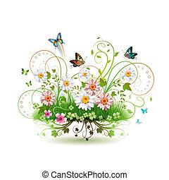 flores, pasto o césped