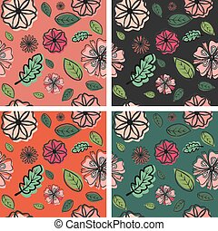 flores, patrones, conjunto, 4, primavera, plano de fondo, seamless