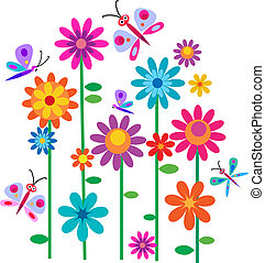flores, primavera, mariposas