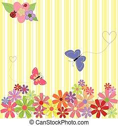 Flores primaverales y mariposas en un fondo de rayas amarillas