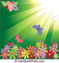 Flores primaverales y mariposas en un fondo verde