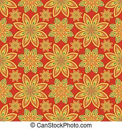 flores, resumen, geométrico, seamless, vector, pattern., ornamental, oriental, plano de fondo, floral