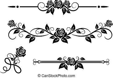 Flores rosas con elementos antiguos
