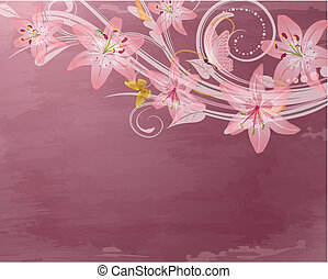 Flores rosas de fantasía