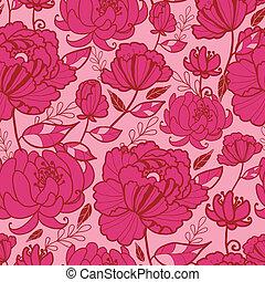 Flores rosas y deja un patrón sin costura